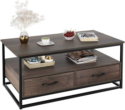"HOMECHO Industrial Coffee Table 43"", Wood and Metal Cocktail Table with Storage Shelf"