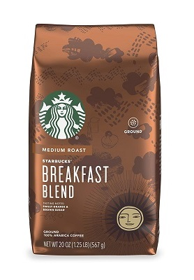 Starbucks Medium Roast Ground Coffee — Breakfast Blend — 100% Arabica — 1 bag