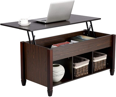 YAHEETECH Lift Top Coffee Table with Hidden Storage Compartment & Shelf