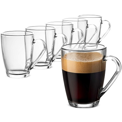 Bormioli Rocco Glass Coffee Mug Set, (6 Pack) Medium 10 ¾ Ounce with Convenient Handle