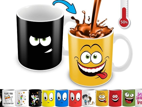 Cortunex Heat Changing, Color Changing Mug With A Yellow Drunk Funny Smiley Face, 11 Oz