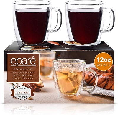 Eparé 12 oz Glass Coffee Mugs, Set of 2 Clear Double Wall Insulated Glassware With Handle