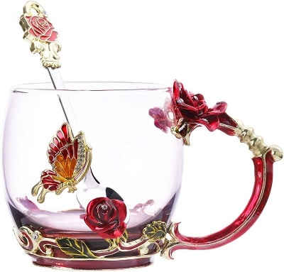 Kpcuisite Tea Cup Coffee Mug Glassess Cups & Spoon Beautiful Unique Gift For Women Butterfly Rose