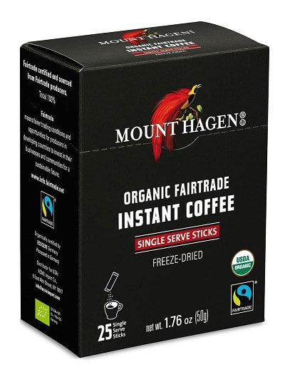 Mount Hagen Organic Instant Regular Coffee, 25 Count Single Serve packet, 1.76 oz