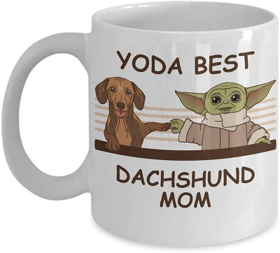 Spindle Gifts Yoda Best Dachshunds Mom - Novelty Gift Mugs for Dog Lovers