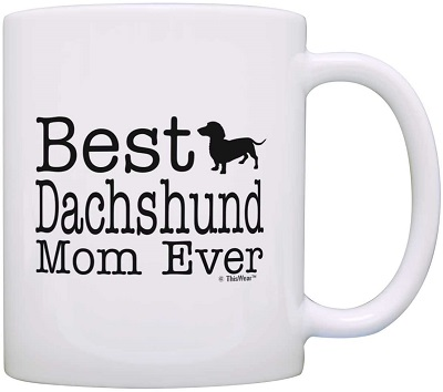 ThisWear Dog Lover Gifts Best Dachshund Mom Ever Coffee Mug Tea Cup, White