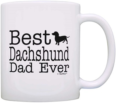 ThisWear Dog Lover Mug Best Dachshund Doxen Doxie Dad Ever Coffee Mug Tea Cup, White