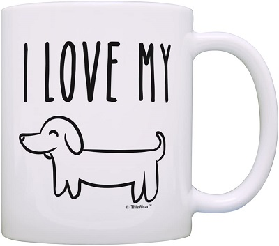 ThisWear I Love My Wiener Dog Mug Funny Dachshund Gifts for Dachshund Lovers
