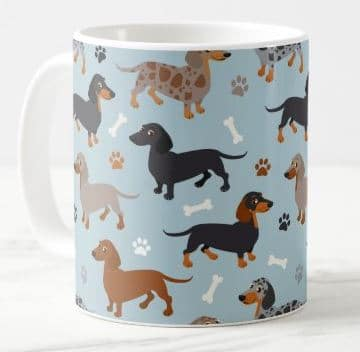 Dachshund Paws and Bones Pattern Blue Coffee Mug
