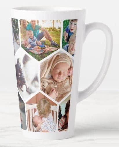 Personalized Honeycomb Family Photos Custom Latte Mug