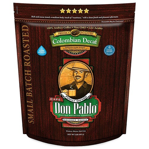 Cafe Don Pablo 2LB Colombian Decaf, Medium-Dark Roast Whole Bean Coffee