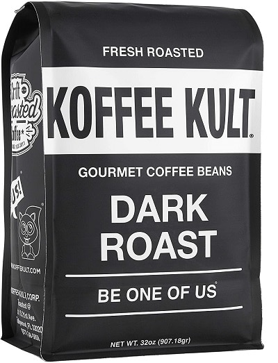 Koffee Kult Coffee Beans Dark Roasted - Whole Bean Coffee - Fresh Gourmet Aromatic Artisan Blend (32oz)
